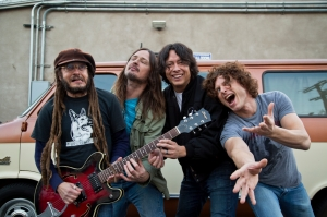 The members of OFF! outside their studio, during a break in the making of their newest album. Left to right: singer Keith Morris, bassist Steven McDonald, drummer Mario Rubalcaba and guitarist Dimitri Coats.